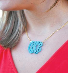 Acrylic Monogram Necklace-custom necklace, monogram necklace, acrylic necklace, personalized necklace, acrylic monogram, acrylic monogram necklace