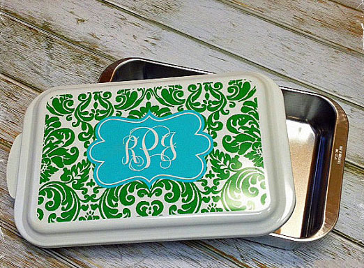 Casserole Dish-monogram, cake, casserole, personalized, tailgating, greek, school, wedding, shower gift