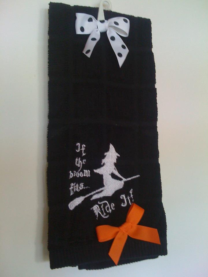 Witchy Towel-Halloween, witch, kitchen towel, hand towel