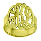 Monogram 14k Gold Script Cutout Ring-